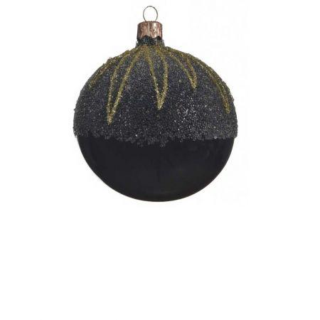 Χριστουγεννιάτικη μπάλα γυάλινη γυαλιστερή Μαύρη με Χρυσά σχέδια 8cm