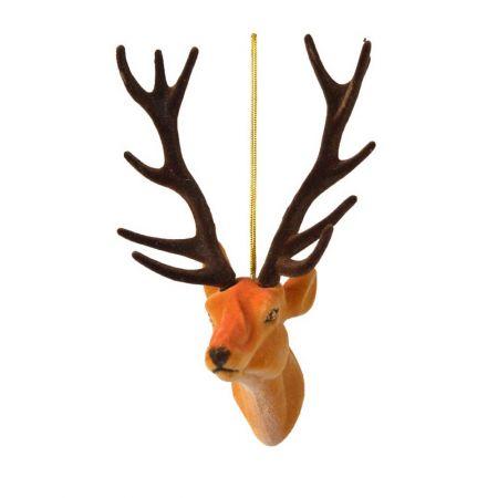 Βελούδινο στολίδι - Κεφάλι ταράνδου Πορτοκαλί 13cm