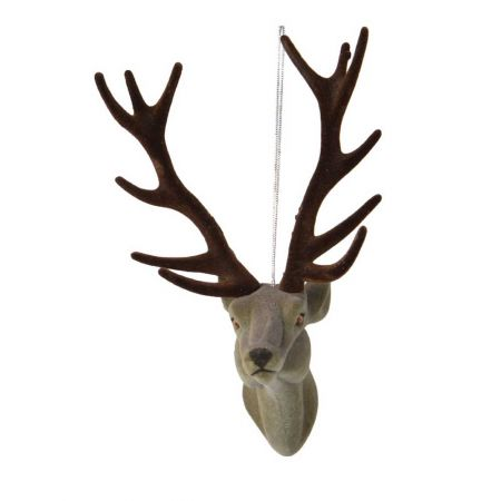 Βελούδινο στολίδι - Κεφάλι ταράνδου Γκρι 13cm