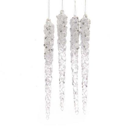 Σετ 4τχ Ακρυλικοί σταλακτίτες Διάφανο - Ασημί με glitter 1,5x15cm