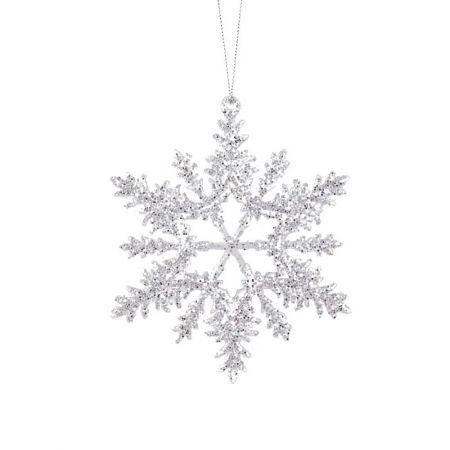 Ακρυλική χιονονιφάδα Διάφανη - Ασημί με glitter 14cm