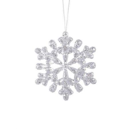 Ακρυλική χιονονιφάδα Διάφανη - Ασημί με glitter 12cm