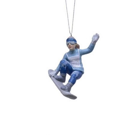 Κρεμαστό στολίδι - Κορίτσι με snowboard 5,5x8,5x11cm