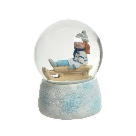 Χιονόμπαλα - Waterball με Κορίτσι σε έλκηθρο 10x14,5cm
