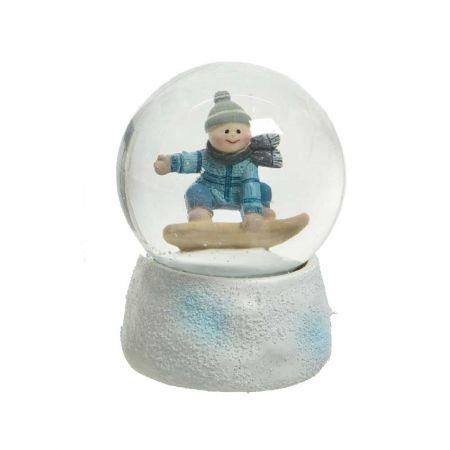 Χιονόμπαλα - Waterball με αγόρι σε snowboard 10x14,5cm