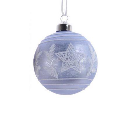 Χριστουγεννιάτικη μπάλα γυάλινη με αστέρι και φύλλα Γαλάζιο - Λευκό 8cm