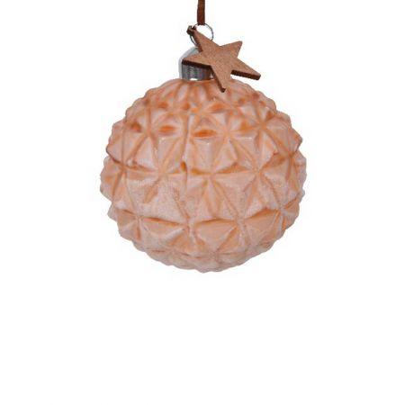Χριστουγεννιάτικη μπάλα γυάλινη ανάγλυφη Καφέ με ξύλινο αστέρι 8cm
