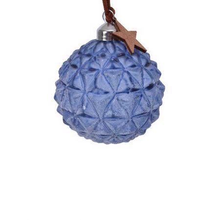Χριστουγεννιάτικη μπάλα γυάλινη ανάγλυφη με ξύλινο αστέρι 8cm