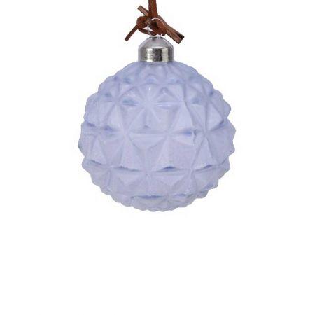 Χριστουγεννιάτικη μπάλα γυάλινη ανάγλυφη Γαλάζια με ξύλινο αστέρι 8cm