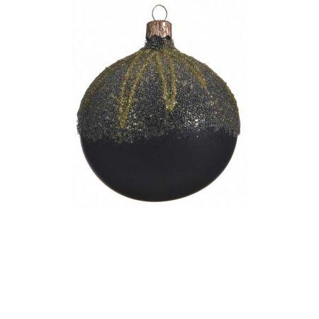 Χριστουγεννιάτικη μπάλα γυάλινη ματ Μαύρη με Χρυσά σχέδια 8cm