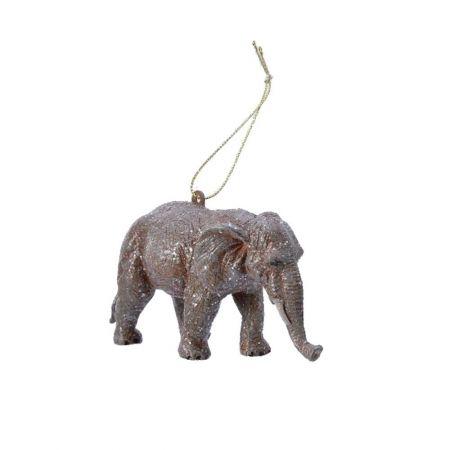 Χριστουγεννιάτικο στολίδι ελέφαντας με glitter 11cm