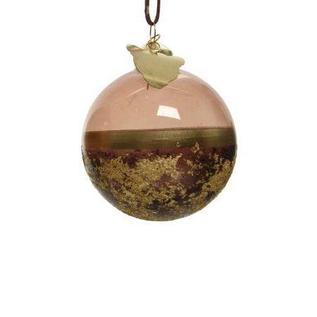 Χριστουγεννιάτικη μπάλα γυάλινη Καφέ - Χρυσή 8cm