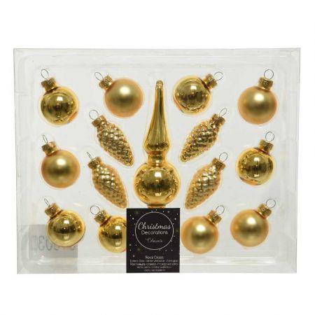 Σετ 15τχ Μπάλες Χριστουγεννιάτικου δέντρου mini Γυάλινες Χρυσές