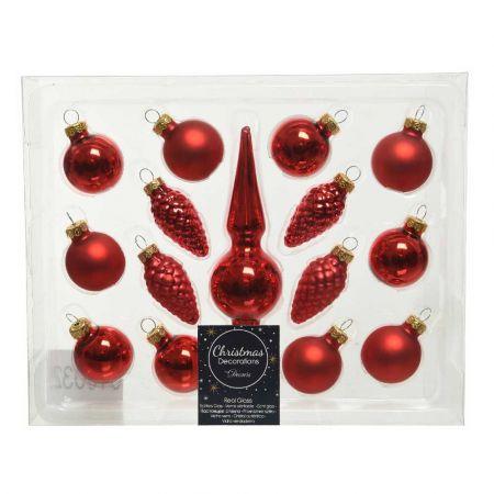 Σετ 15τχ Μπάλες Χριστουγεννιάτικου δέντρου mini Γυάλινες Κόκκινες