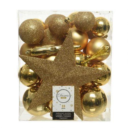 Σετ 33τχ Μπάλες -Στολίδια - Κορυφή Χριστουγεννιάτικου δέντρου Πλαστικές Χρυσές
