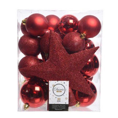 Σετ 33τχ Μπάλες -Στολίδια - Κορυφή Χριστουγεννιάτικου δέντρου Πλαστικές Κόκκινο