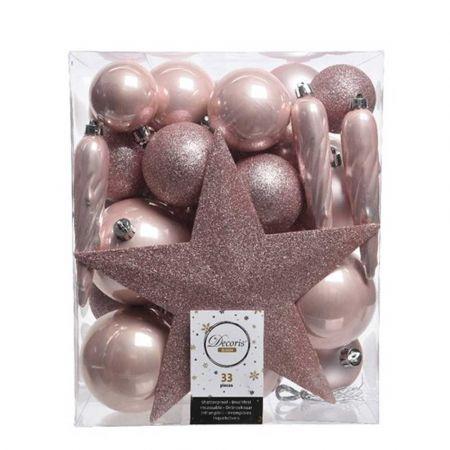 Σετ 33τχ Μπάλες -Στολίδια - Κορυφή Χριστουγεννιάτικου δέντρου Πλαστικές Ροζ