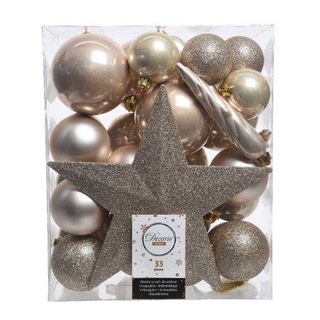 Σετ 33τχ Μπάλες -Στολίδια - Κορυφή Χριστουγεννιάτικου δέντρου Πλαστικές Σαμπανί