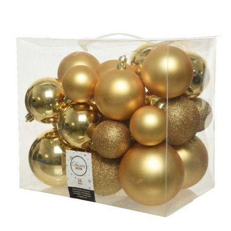 Σετ 26τχ Μπάλες χριστουγεννιάτικου δέντρου Πλαστικές Χρυσές 6-10cm