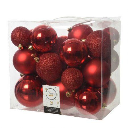 Σετ 26τχ Μπάλες χριστουγεννιάτικου δέντρου Πλαστικές Κόκκινες 6-10cm