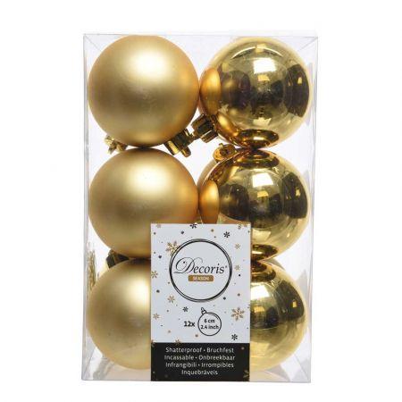 Σετ 12τχ Μπάλες χριστουγεννιάτικου δέντρου Πλαστικές Χρυσές 6cm