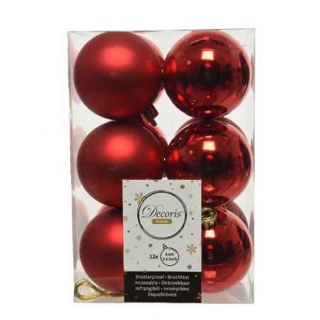 Σετ 12τχ Μπάλες χριστουγεννιάτικου δέντρου Πλαστικές Κόκκινες 6cm