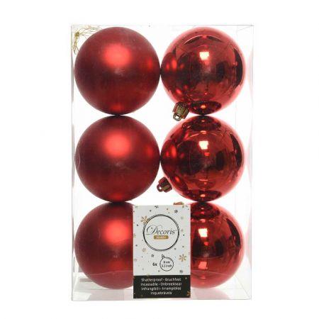 Σετ 6τχ Μπάλες χριστουγεννιάτικου δέντρου Πλαστικές Κόκκινες 8cm