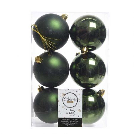 Σετ 6τχ Μπάλες χριστουγεννιάτικου δέντρου Πλαστικές Κυπαρισσί 8cm