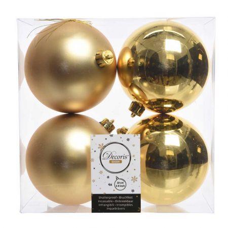 Σετ 4τχ Μπάλες χριστουγεννιάτικου δέντρου Πλαστικές Χρυσές 10cm