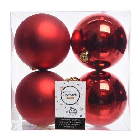 Σετ 4τχ Μπάλες χριστουγεννιάτικου δέντρου Πλαστικές Κόκκινες 10cm
