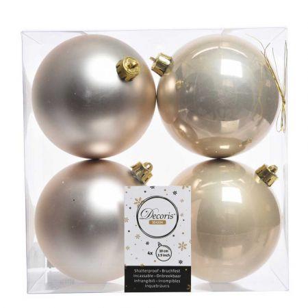 Σετ 4τχ Μπάλες χριστουγεννιάτικου δέντρου Πλαστικές Σαμπανί 10cm