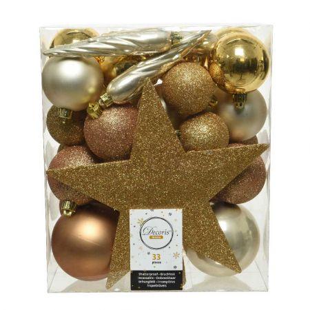 Σετ 33τχ Μπάλες -Στολίδια - Κορυφή Χριστουγεννιάτικου δέντρου Πλαστικές Χρυσό - Σαμπανί