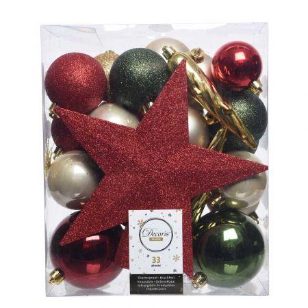 Σετ 33τχ Μπάλες -Στολίδια - Κορυφή Χριστουγεννιάτικου δέντρου Πλαστικές Κόκκινο - Πράσινο - Χρυσό