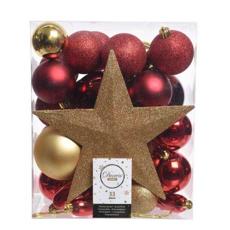 Σετ 33τχ Μπάλες -Στολίδια - Κορυφή Χριστουγεννιάτικου δέντρου Πλαστικές Χρυσό - Μπορντό