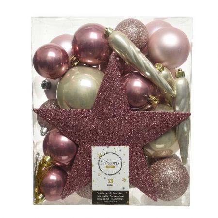 Σετ 33τχ Μπάλες -Στολίδια - Κορυφή Χριστουγεννιάτικου δέντρου Πλαστικές Ροζ - Σαμπανί