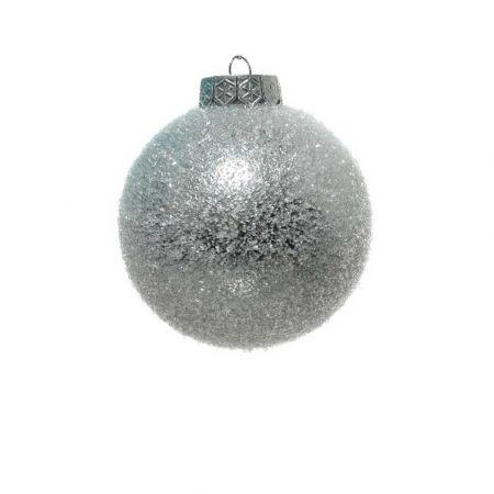 Χριστουγεννιάτικη μπάλα πλαστική Ασημί παγωμένη 8cm