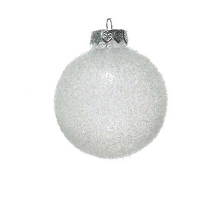Χριστουγεννιάτικη μπάλα πλαστική Διάφανη παγωμένη 8cm