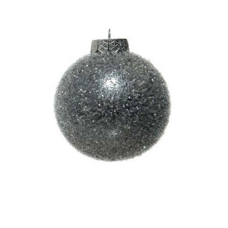 Χριστουγεννιάτικη μπάλα πλαστική Γκρι παγωμένη 8cm