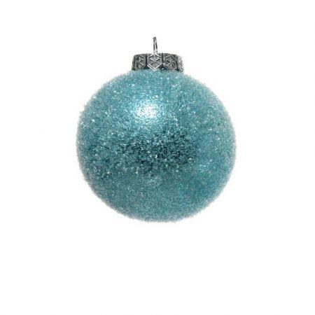 Χριστουγεννιάτικη μπάλα πλαστική Γαλάζια παγωμένη 8cm