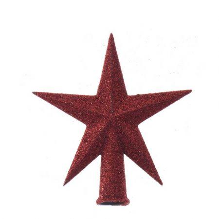 Κορυφή Χριστουγεννιάτικου δέντρου αστέρι Κόκκινο 12x13cm
