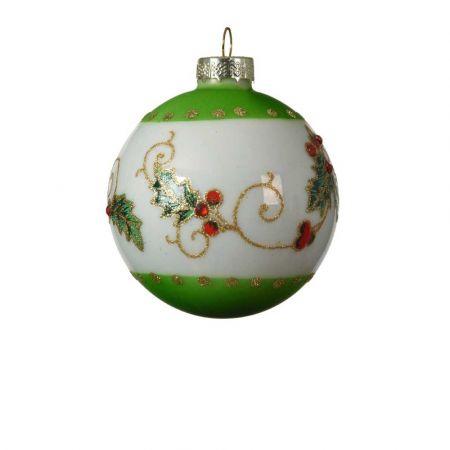 Χριστουγεννιάτικη μπάλα με Γκι γυάλινη Πράσινη - Λευκή 8cm