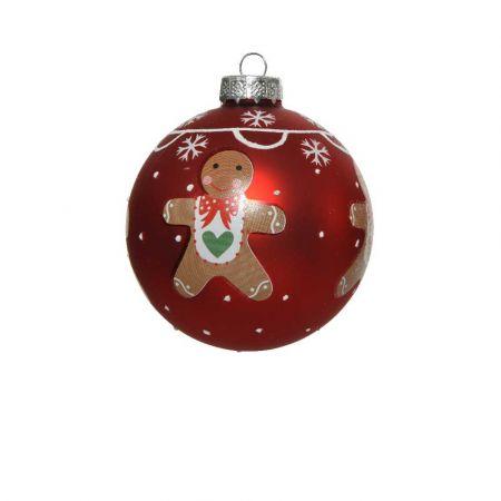 Χριστουγεννιάτικη μπάλα με gingerbread - Κόκκινη ματ 8cm
