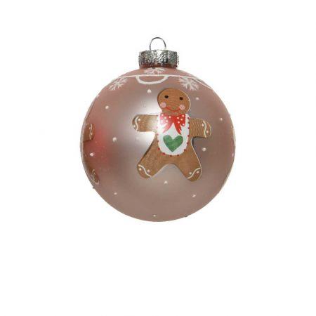 Χριστουγεννιάτικη μπάλα με gingerbread - Ροζ ματ 8cm