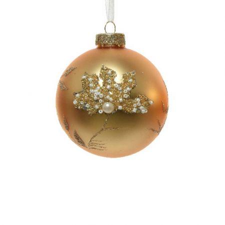 Χριστουγεννιάτικη μπάλα με χάντρες και glitter - Χάλκινη ματ 8cm