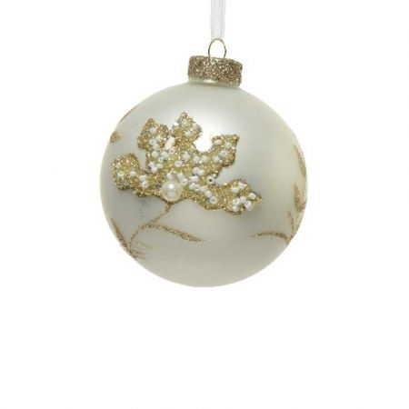 Χριστουγεννιάτικη μπάλα με χάντρες και glitter - Λευκή ματ 8cm