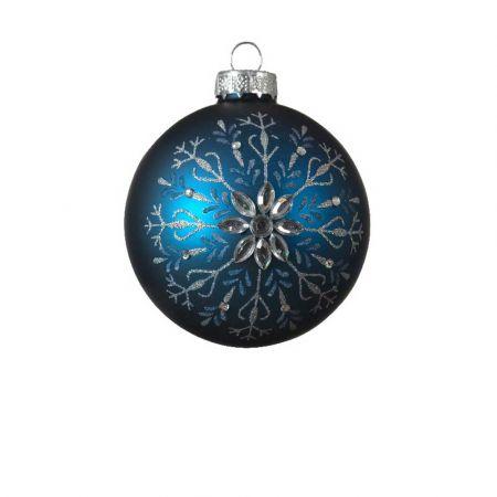 Χριστουγεννιάτικη μπάλα με Χιονονιφάδα glitter - Μπλε ματ 8cm