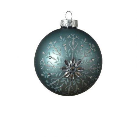 Χριστουγεννιάτικη μπάλα με Χιονονιφάδα glitter - Tουρκουάζ ματ 8cm