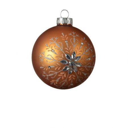 Χριστουγεννιάτικη μπάλα με Χιονονιφάδα glitter - Χάλκινη ματ 8cm