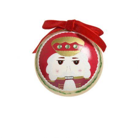 Χριστουγεννιάτικη μπάλα με Καρυοθραύστη και βελούδινη κορδέλα Πράσινο ματ 8cm