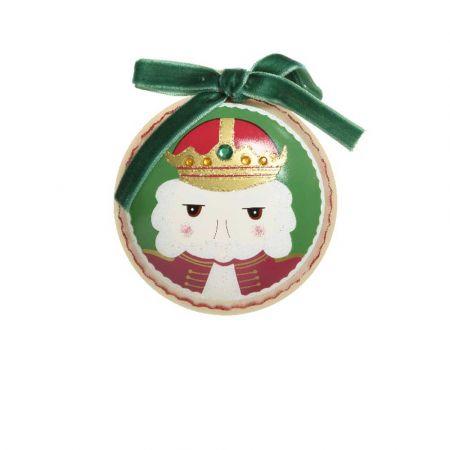 Χριστουγεννιάτικη μπάλα με Καρυοθραύστη και βελούδινη κορδέλα Πράσινη ματ 8cm